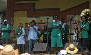 Original Rebirth Brass Band member Kermit Ruffins joined Rebirth at the Jazz Fest a few years back.