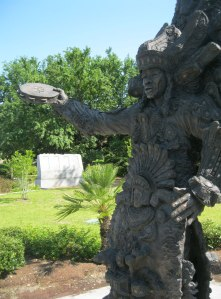 "Big Chief Allison ""Tootie"" Montana is remembered with this statue in Louis Armstrong Park on Rampart Street."