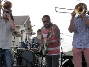 """Mark Mullins (left) and Craig Klein are two of the """"bones"""" of Bonerama. Billy Iuso, fronting his own band earlier, added some licks to a Bonerama number."""
