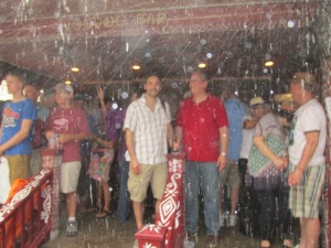 A hard rain on Friday pushed crowds under cover. Saturday and Sunday also had rained out venues at times.
