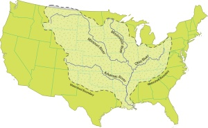 The waters that flow through Louisiana originate in 31 states.