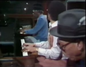 Professor Longhair (top), Allen Toussaint (middle) and Tuts Washington performing Boogie Woogie in Piano Players Rarely Play Together