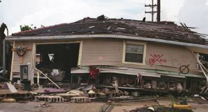 A destroyed home New Orleans lower Ninth Ward. The writing on the outside was from rescue workers.